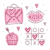 dia de st.valentines doodle conjunto de elementos.