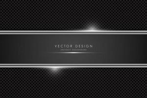fibra de carbono metálico e banner cinza com linhas brilhantes vetor