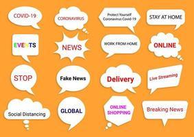 balões de fala de notícias e eventos globais em laranja vetor