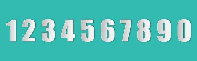 conjunto de números em estilo de papel com uma sombra realista vetor