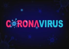 tipografia de coronavírus no design de célula de vírus azul vetor