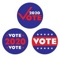 Gráficos circulares de votação das eleições de 2020 vetor
