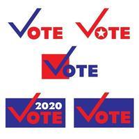 gráficos de eleição de voto em vermelho e azul vetor