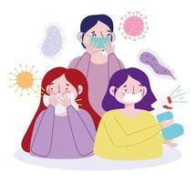 pessoas prevenindo infecção viral
