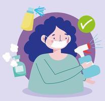 mulher com máscara facial e frascos de spray desinfetante