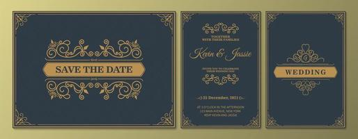 convite de casamento de luxo antigo e salvar a data definida vetor
