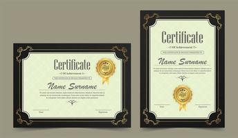 conjunto de certificado de realização vintage horizontal e vertical