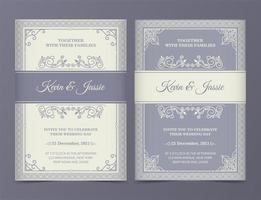Conjunto de convite de casamento vintage lilás e creme