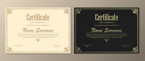 conjunto claro e escuro de certificado de conclusão