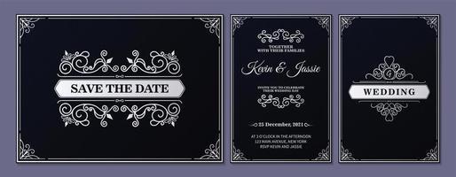 conjunto de cartão de casamento ornamental preto e branco vetor