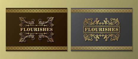conjunto de cartão vintage ornamento sombreado vetor