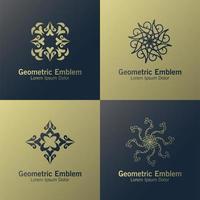 conjunto de emblema geométrico de luxo vetor