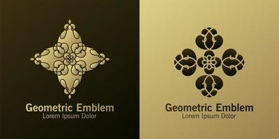 conjunto de emblema geométrico de diamante marrom e dourado vetor