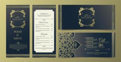 menu de restaurante ornamental azul e dourado e conjunto de vouchers vetor