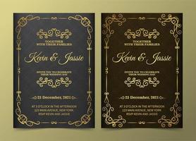 conjunto de cartão de convite de ornamento dourado vintage de luxo vetor
