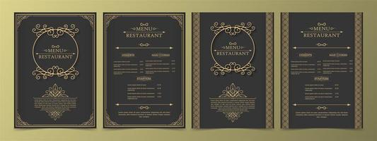 menu definido com elementos decorativos e molduras vetor