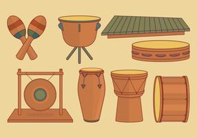 Conjunto de instrumentos de percussão vetor