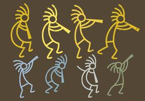 Figuras de Kokopelli vetor