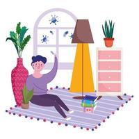 jovem sentado no chão dentro de casa