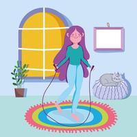 garota fitness pulando corda e se exercitando em casa vetor