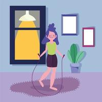 jovem pulando corda e se exercitando dentro de casa vetor