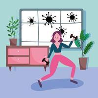 jovem se exercitando na sala de estar durante o coronavírus vetor