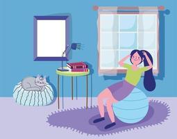 menina malhando com bola de exercícios em casa vetor