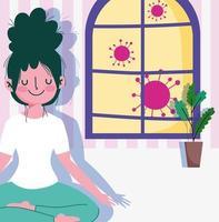 garota jovem e feliz em pose de lótus dentro de casa vetor