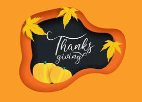 arte cortada em papel decorada para uma feliz celebração de ação de graças