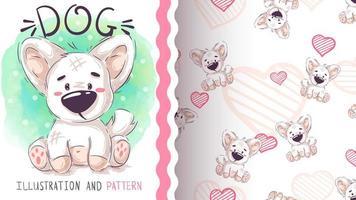 personagem fofo e doce de cachorro de pelúcia e padrão sem emenda vetor
