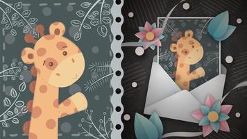 girafa fofa cartão comemorativo vetor