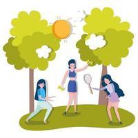 grupo de mulheres praticando esportes ao ar livre vetor