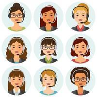 avatares de agentes de call center feminino vetor