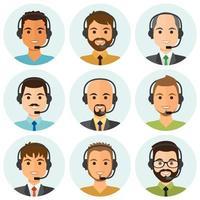 agentes de call center masculinos em volta de avatares vetor