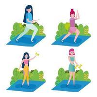 coleção de mulheres jovens se exercitando ao ar livre