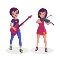 músico feminino tocando violão e coleção de violino