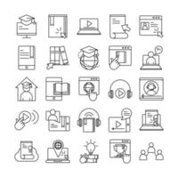 educação on-line e cursos móveis descrevem conjunto de ícones de pictograma vetor