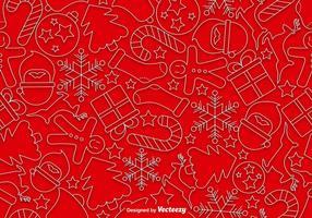 Ícones de estilo de linha de Natal Padrão sem costura
