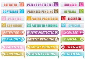 Botões de patente e direitos autorais vetor