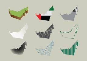 Mapa gratuito dos Emirados Árabes Unidos em muitos estilos vetor