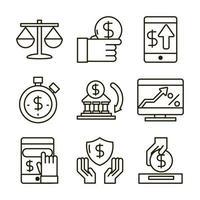 economia e variedade de ícones de negócios de investimento