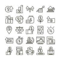pacote de ícones de economia e negócios de investimento vetor
