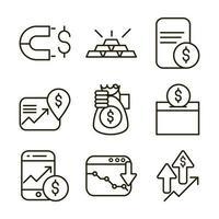 mercado de ações e pacote de ícones de pictograma financeiro vetor
