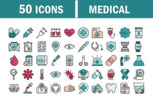 conjunto de ícones de preenchimento e linha de equipamentos médicos e de saúde