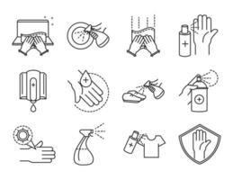 limpeza e desinfecção pacote de ícones de pictograma de contorno
