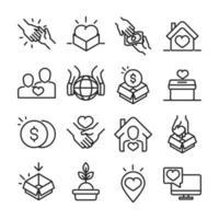 doação para coleta de ícones de caridade e assistência social vetor