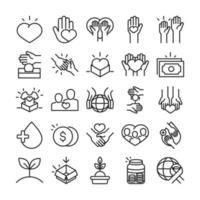 conjunto de ícones de doação para caridade e assistência social vetor