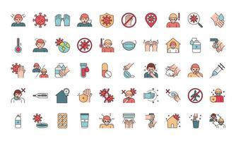linha de prevenção de infecção viral e conjunto de ícones de pictograma de preenchimento