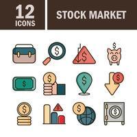 mercado de ações e linha financeira e pacote de ícones de cores de preenchimento vetor