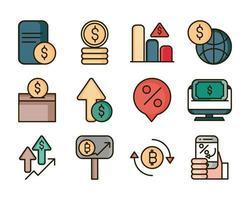 mercado de ações e linha financeira e conjunto de ícones de cor de preenchimento vetor